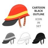 Desenhos animados do ícone de Helmet do sapador-bombeiro Único ícone do equipamento do fogo da silhueta dos desenhos animados gra Foto de Stock