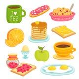 Desenhos animados do ícone do café da manhã ajustados com vários produtos Imagens de Stock
