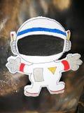 Desenhos animados do artigo da nave espacial na placa do estudante fotografia de stock royalty free