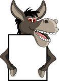Desenhos animados do asno com sinal em branco Imagens de Stock Royalty Free