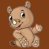 Desenhos animados do assento bonito do rinoceronte do bebê ilustração do vetor
