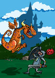Desenhos animados do ataque do dragão ilustração stock