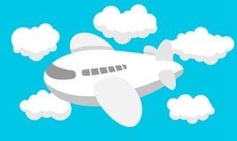 Desenhos animados do avião, curso, nuvens Fotos de Stock Royalty Free