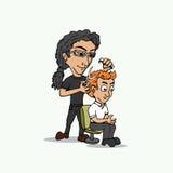Desenhos animados do barbeiro da ilustração Fotos de Stock Royalty Free