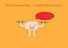 Desenhos animados do cérebro cansados Fotos de Stock