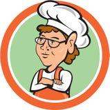 Desenhos animados do círculo de Female Arms Folded do cozinheiro do cozinheiro chefe Fotos de Stock Royalty Free