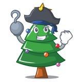 Desenhos animados do caráter da árvore de Natal do pirata ilustração stock