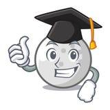 Desenhos animados do caráter da bola de golfe da graduação ilustração do vetor