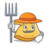 Desenhos animados do caráter da cookie de fortuna do fazendeiro ilustração stock