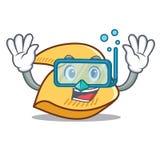 Desenhos animados do caráter da cookie de fortuna do mergulho ilustração stock