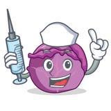 Desenhos animados do caráter da couve vermelha da enfermeira Imagens de Stock