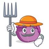 Desenhos animados do caráter da couve vermelha do fazendeiro Fotografia de Stock