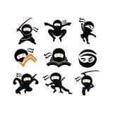 Desenhos animados do caráter de Ninja Samurai Warrior Fighter marciais ilustração stock