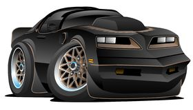 Desenhos animados do carro do músculo de 77 clássicos ilustração royalty free