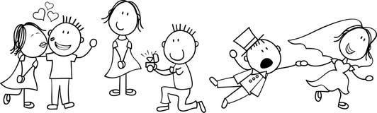 Desenhos animados do casamento ilustração royalty free