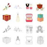 Desenhos animados do casamento e dos atributos, ícones do esboço na coleção do grupo para o projeto Estoque do símbolo do vetor d Imagens de Stock