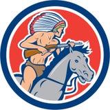 Desenhos animados do cavalo de equitação do chefe indiano do nativo americano Fotos de Stock