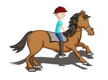 Desenhos animados do cavalo de equitação do homem ilustração stock
