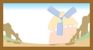 Desenhos animados do celeiro da cena da exploração agrícola da vila Imagens de Stock Royalty Free
