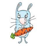 Desenhos animados do coelho, desenho da mão do vetor Coelho pintado engraçado com uma cenoura nas patas, isoladas no fundo branco Fotos de Stock