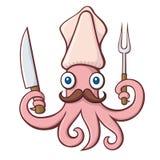 Desenhos animados do cozinheiro chefe do calamar Imagem de Stock Royalty Free