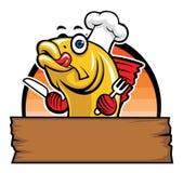Desenhos animados do cozinheiro chefe dos peixes Imagens de Stock