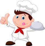 Desenhos animados do cozinheiro chefe que mantêm uma bandeja e um polegar do alimento do metal Fotografia de Stock