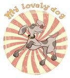 Desenhos animados do crachá do cão de caça Fotos de Stock