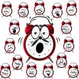 Desenhos animados do despertador com muitas expressões faciais Fotografia de Stock Royalty Free