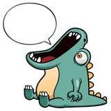 Desenhos animados do dinossauro com balão de discurso Foto de Stock