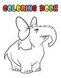 Desenhos animados do elefante do livro para colorir Imagens de Stock Royalty Free