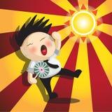 Desenhos animados do empregado em um dia quente Imagens de Stock Royalty Free