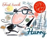 Desenhos animados do executivo empresarial que mostram o corredor do homem aos fins do prazo da batida Imagens de Stock Royalty Free