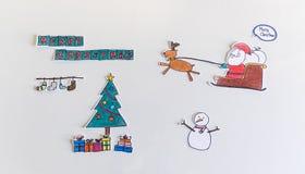Desenhos animados do Feliz Natal feitos a mão Fotos de Stock Royalty Free