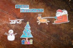 Desenhos animados do Feliz Natal feitos a mão Fotografia de Stock