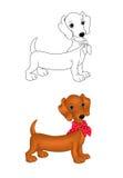 Desenhos animados do filhote de cachorro do Dachshund Fotos de Stock Royalty Free