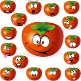 Desenhos animados do fruto do caqui com muitas expressões Fotos de Stock Royalty Free