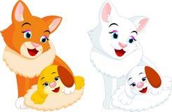 Desenhos animados do gato e do cachorrinho ilustração stock