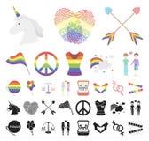 Desenhos animados do gay e lesbiana, ícones pretos em coleção ajustada para o projeto A minoria e os atributos sexuais vector a W ilustração stock