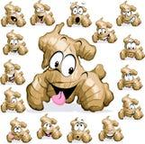 Desenhos animados do gengibre com a cara engraçada no branco Imagem de Stock