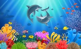 Desenhos animados do golfinho ilustração do vetor