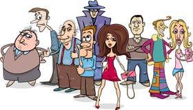 Desenhos animados do grupo dos povos Fotografia de Stock