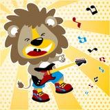 Desenhos animados do guitarrista no fundo das estrelas Imagem de Stock
