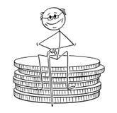 Desenhos animados do homem aposentado idoso do pensionista ou do aposentado que senta-se na pilha pequena de moedas ilustração do vetor