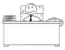 Desenhos animados do homem da vara do vetor do bom chefe feliz Smiling Imagens de Stock Royalty Free