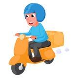 Desenhos animados do homem de entrega com 'trotinette' Imagem de Stock Royalty Free