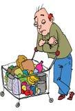 Desenhos animados do homem que empurram uma compra ilustração royalty free