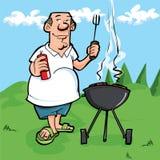 Desenhos animados do homem que tem um BBQ ilustração royalty free