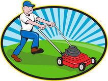 Desenhos animados do jardineiro do homem da segadeira de gramado ilustração royalty free