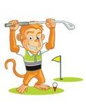 Desenhos animados do jogador de golfe do macaco Fotografia de Stock Royalty Free